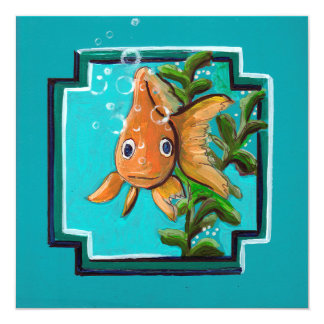 Goldfish posing in the water card