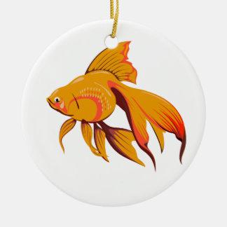 Goldfish Round Ceramic Ornament