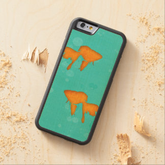 Goldfish silhouettes turquoise water byEDrawings38 Carved Maple iPhone 6 Bumper Case