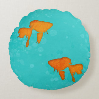 Goldfish silhouettes turquoise water byEDrawings38 Round Pillow