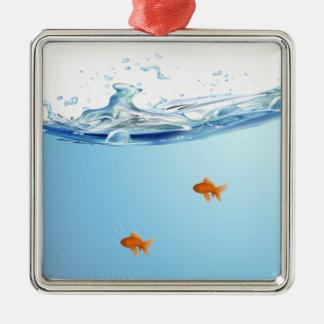 Goldfish under water aquarium Silver-Colored square ornament