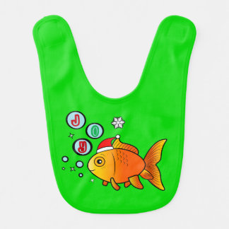 Goldfish with Santa Hat and Bubbles of Joy Bib