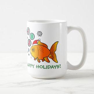 Goldfish with Santa Hat and Bubbles of Joy Coffee Mug