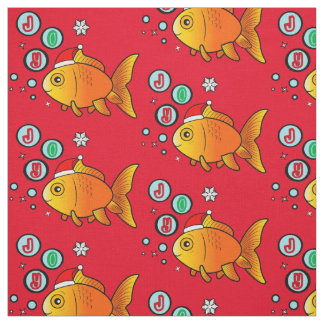 Goldfish with Santa Hat and Bubbles of Joy Fabric