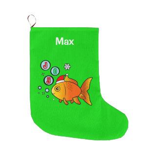 Goldfish with Santa Hat and Bubbles of Joy Large Christmas Stocking
