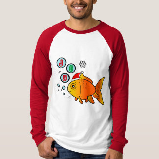 Goldfish with Santa Hat and Bubbles of Joy T-Shirt