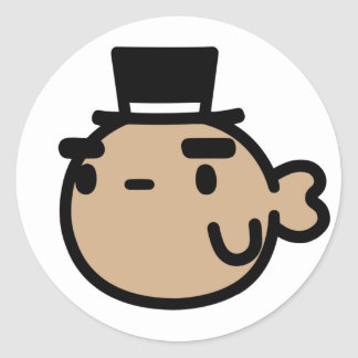Goldfish With Top Hat Classic Round Sticker