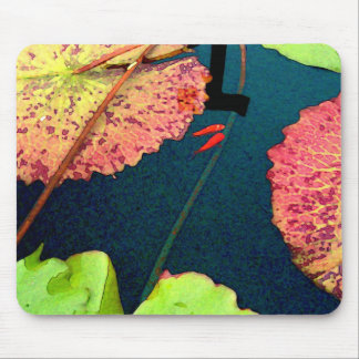 Goldfishes in waterlily pond mouse pad