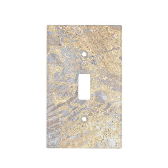 Goldish Beige Grey Marble Limestone Pattern Light Switch Cover