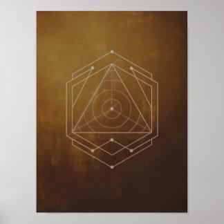 Goldish Geometric logo design poster