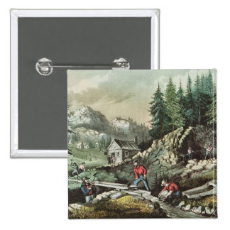 Goldmining in California, 1871 2 Inch Square Button