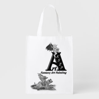 Golem Gargoyle and ArtKSZP Logo Reusable Grocery Bag