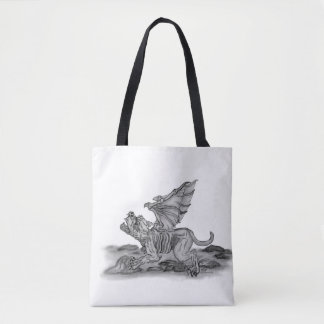 Golem Gargoyle , Black and White design Tote Bag
