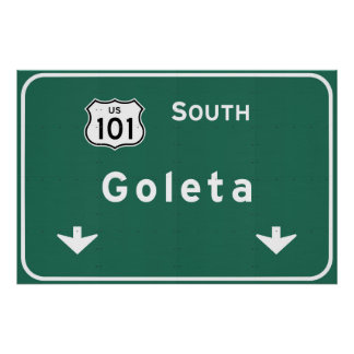Goleta California US-101 South Interstate - Poster