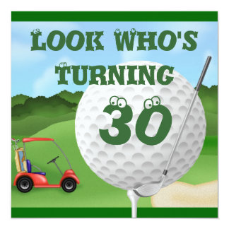 Golf  30th Birthday Invitations TEMPLATE