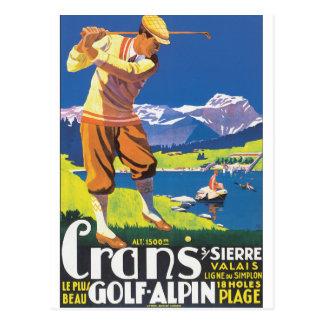 Golf Alpin Vintage Travel Poster Postcard
