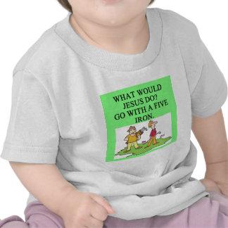 golf and jesus joke tee shirt