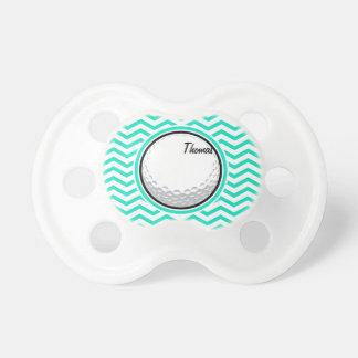 Golf Ball; Aqua Green Chevron Baby Pacifier