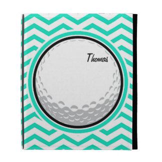 Golf Ball Aqua Green Chevron iPad Folio Case