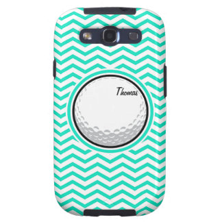 Golf Ball Aqua Green Chevron Galaxy S3 Case