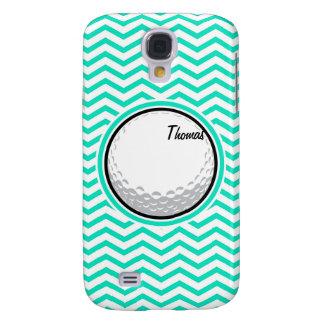 Golf Ball Aqua Green Chevron Samsung Galaxy S4 Cases