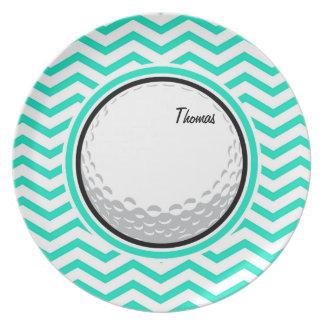 Golf Ball Aqua Green Chevron Dinner Plate
