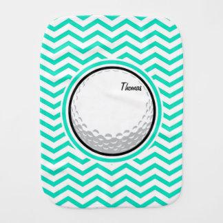 Golf Ball Aqua Green Chevron Baby Burp Cloth