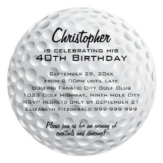 "Golf Ball Birthday Party 5.25"" Square Invitation Card"