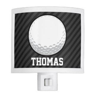 Golf Ball; Black & Dark Gray Stripes Night Lights