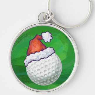 Golf Ball Christmas Hats Silver-Colored Round Keychain