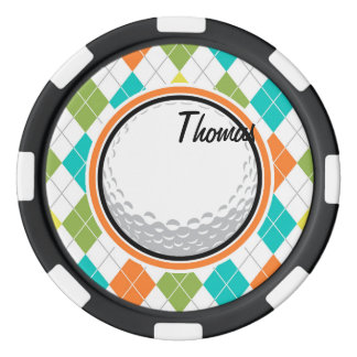 Golf Ball; Colorful Argyle Pattern Poker Chips Set