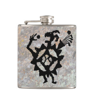 Golf Ball Eater Petroglyph Hip Flask