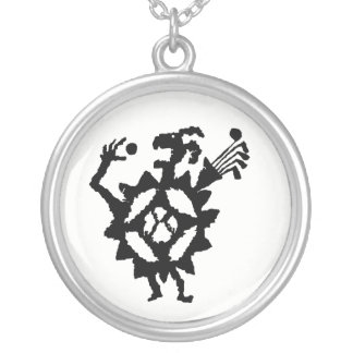 Golf Ball Eater Petroglyph Silver Plated Necklace