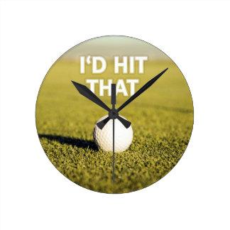 Golf ball I'd Hit That Design Clock