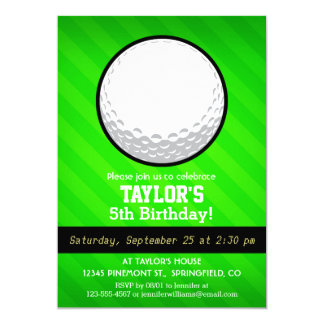 "Golf Ball; Neon Green Stripes 5"" X 7"" Invitation Card"