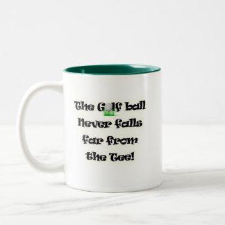 Golf ball never falls far from the tee Two-Tone coffee mug