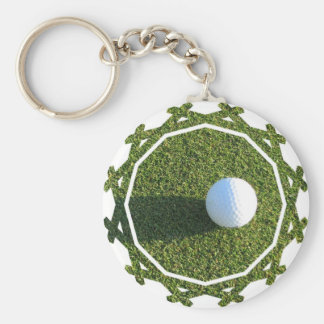 Golf Ball on Golf Green Keychain