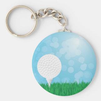 golf ball on grass basic round button keychain