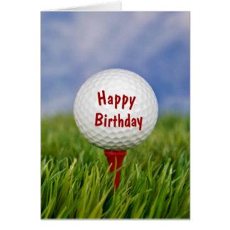 golf ball on tee for birthday card