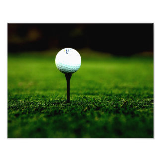 Golf Ball on Tee with Green Turf Photo Print
