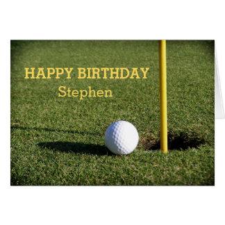 Golf Ball on the Green Birthday Custom Greeting Card