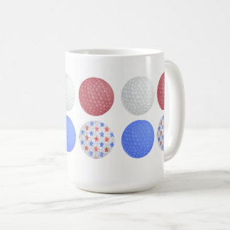GOLF BALL PATRIOTIC DESIGN, 4TH JULY GOLFER GIFT COFFEE MUG