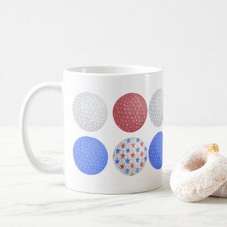 GOLF BALL PATRIOTIC DESIGN, 4TH JULY GOLFER GIFT COFFEE MUG