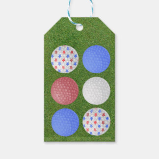 GOLF BALL PATRIOTIC DESIGN, 4TH JULY GOLFER GIFT GIFT TAGS