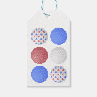 GOLF BALL PATRIOTIC DESIGN, 4TH JULY GOLFER GIFT PACK OF GIFT TAGS