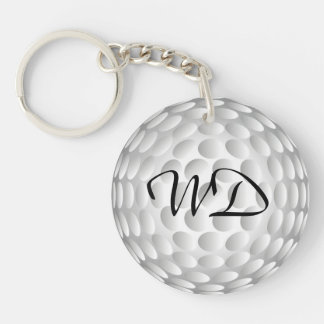 Golf ball personalized monogram Double-Sided round acrylic keychain