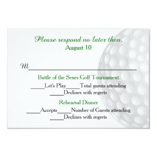 Golf Ball Pre Wedding Festivities RSVP Card