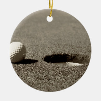 Golf Ball Round Ceramic Ornament