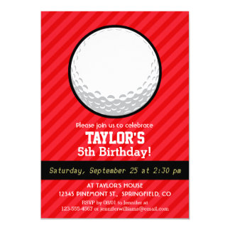 "Golf Ball; Scarlet Red Stripes 5"" X 7"" Invitation Card"