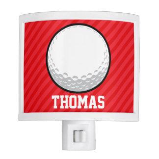 Golf Ball; Scarlet Red Stripes Nite Light
